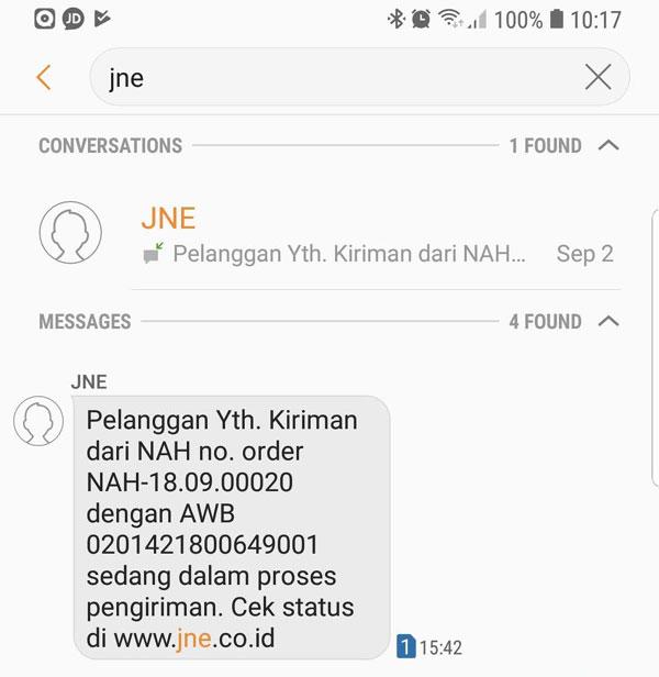 SMS resi JNE Express