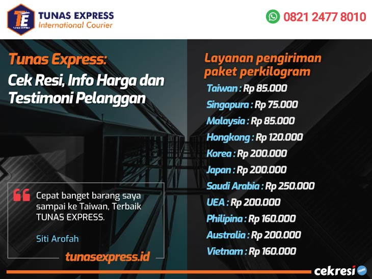 Tunas Express: Cek Resi, Info Harga dan Testimoni Pelanggan
