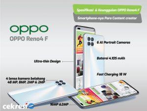 Spesifikasi dan Keunggulan OPPO Reno4 F, Smartphone-nya Para Content creator